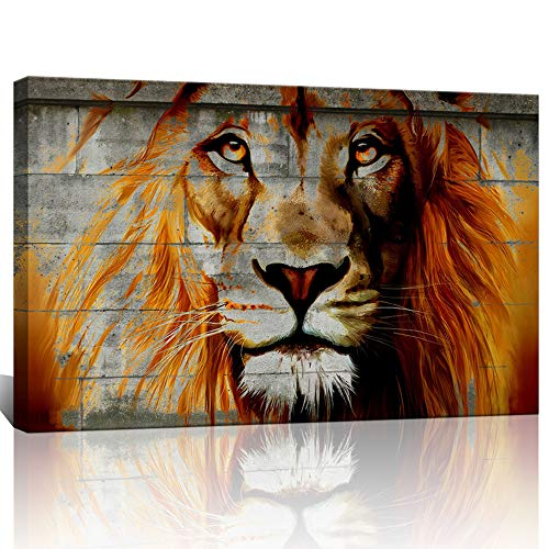 Unique Lion Graffiti On Wall,Framed African Lion Painting Prints on Canvas,Framed on Wood Bars,Lion Poster Prints for Home Wall Decor,Attractive Animal Wall Decoration