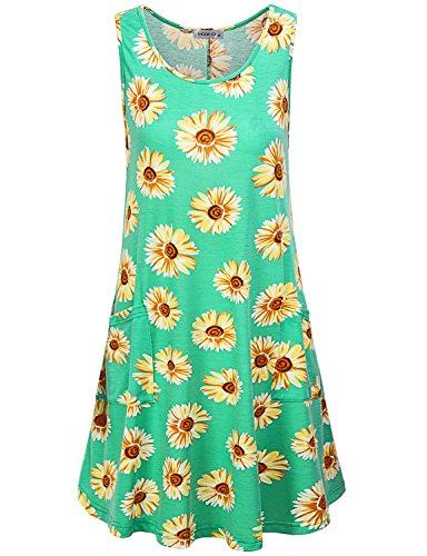 T Dress Casual Sundress Summer Sleeveless Shirt Sunflower with MOQIVGI A Women's Green Pockets Flowy line Xn0wRqxCT