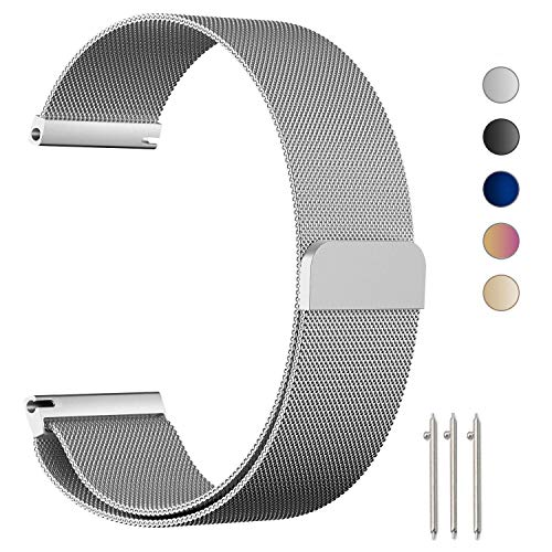 ZGS Compatible with 20mm Watch Strap, Loop Stainless Steel Mesh Strap Replacement for Garmin Vivoactive 3 Music/Vivomove HR/Forerunner 245 / Forerunner 645 Music (20mm Silver)