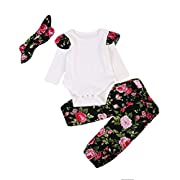 Newborn Baby Girls Romper Tops + Floral Pants + Headband Outfits Set Clothes 3Pcs -Glosun (0-6 Months)