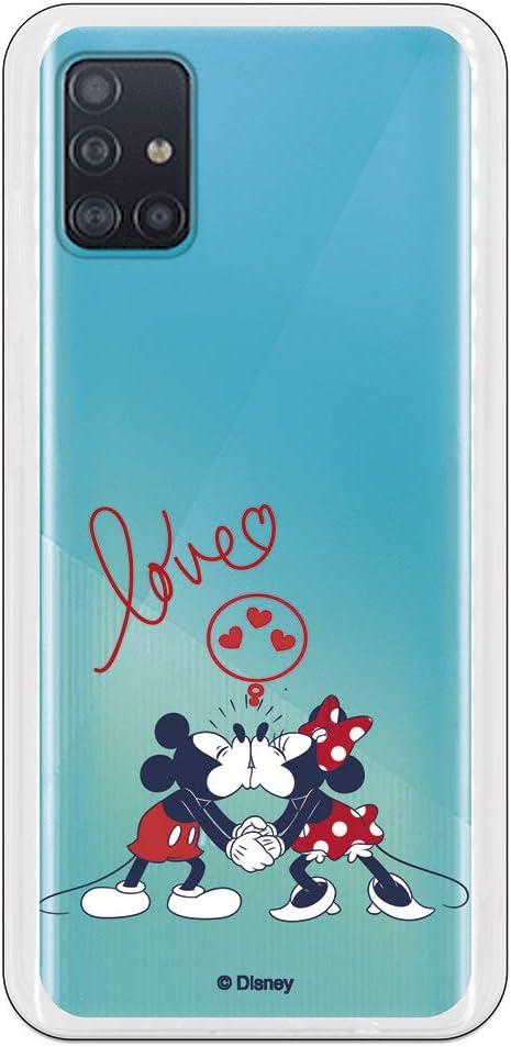 Funda para Samsung Galaxy A51 Oficial de Clásicos Disney Mickey y Minnie Love para Proteger tu móvil. Carcasa para Samsung de Silicona Flexible con Licencia Oficial de Disney.