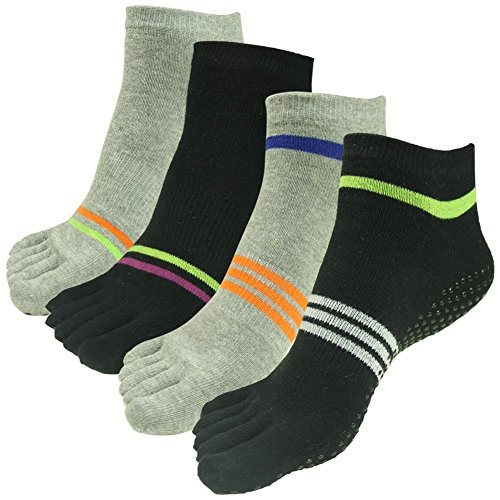 Yoga J'colour for Stripes Sports Socks amp;grey Barre Women Pairs 004 4 Ankle Socks Athletic Non Slip 2 Different Black Gripes Pilates amp;Men pAqn1Adrx