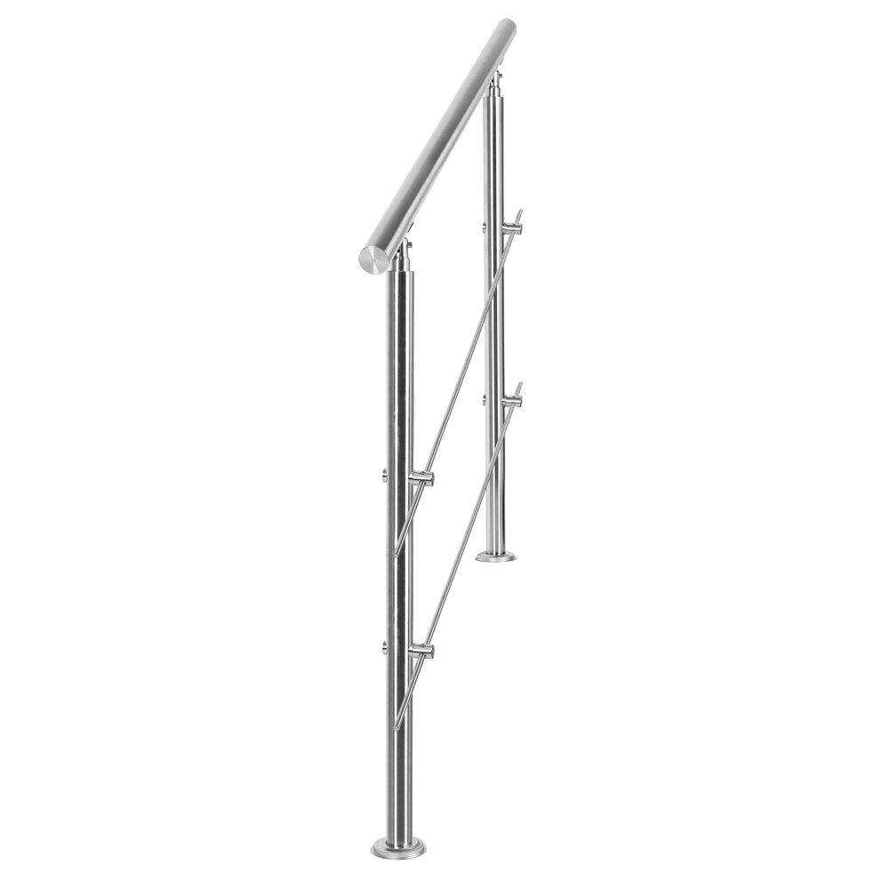 Rampe escalier Acier inoxydable 2 Tiges 180cm Rambarde Main Courante Balustrade