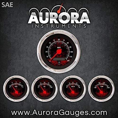 Red Modern Needles, Chrome Trim Rings, Style Kit Installed Aurora Instruments 1800 Tribal Black SAE 5-Gauge Set