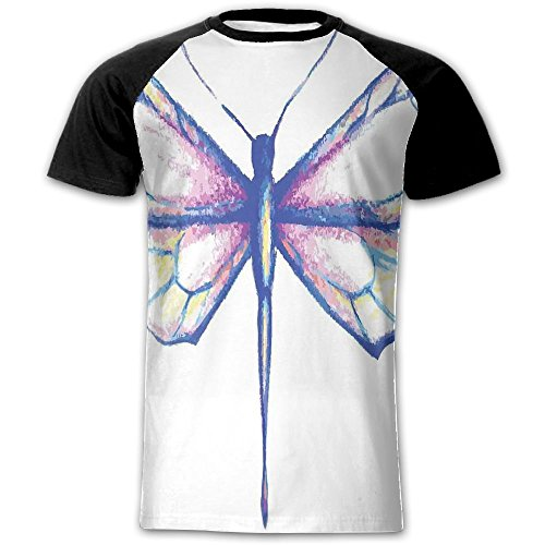 Newfood Ss Single Dragonfly Featured in Soft Color Fast Long-Bodied Predatory Insect Theme Men's Short Sleeve Raglan T XXL (Ps3 Tow Truck Games)