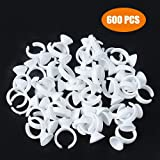 G2PLUS Disposable Plastic Nail Art Tattoo Glue Holder Eyelash Extension Rings Adhesive Pigment Holders Finger Hand Beauty Tools (White-600 PCS)