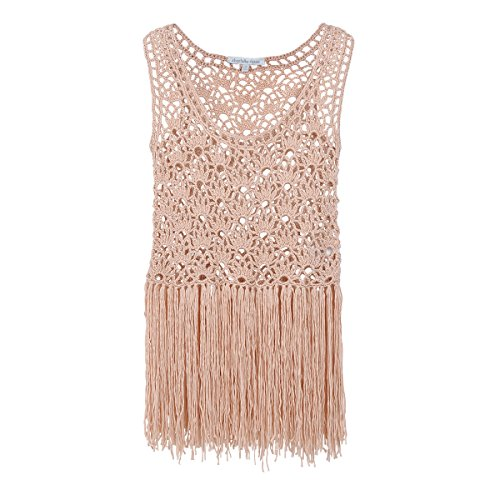 Ezclassy-Women's Hand-Made Hollow out Casual Loose Knitted Lace Sleeveless Sexy Tank Tops T Shirts Camisole (S)
