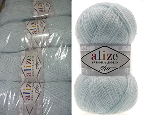 Mohair Wool Yarn Alize Angora Gold STAR Payet Thread Crochet Hand Knitting Turkish Yarn Lot of 4skn 400gr 1792yds Color 514 Winter Sky - Gold Mohair Yarn