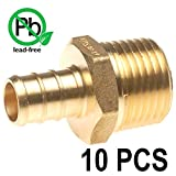 PEX 1/2'' x 1/2'' Inch Male NPT Thread Adapter - Crimp Fitting Bag of 10 pcs/Brass / 1/2'' X 1/2''