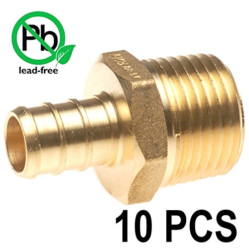 PEX 1/2'' x 1/2'' Inch Male NPT Thread Adapter - Crimp Fitting Bag of 10 pcs/Brass / 1/2'' X 1/2'' by VENTRAL