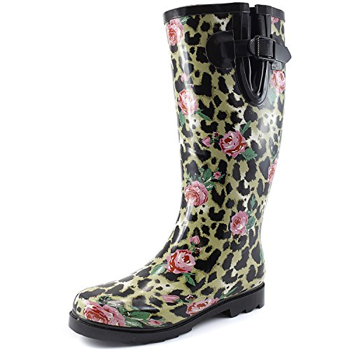 (DailyShoes Women's Puddles Rain and Snow Boot Multi Color Mid Calf Knee High Rainboots,Leopard Rose 11 B(M) US)