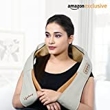 Lifelong LLM63 Electric Neck, Shoulder and Back Massager with heat kneading nodes for pain and stress relief, Multifunctional with Adjustable Speed, Electric/Car Charging Mode (Brown )