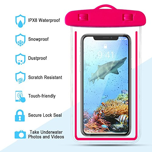4-Pack Universal Waterproof Case,IPX8 Waterproof Phone Pouch Dry Bag for iPhone X/8/8plus/7/7plus/6s/6/6s plus Samsung galaxy s8/s7 Google Pixel HTC10 (Blue) by Banter (Image #3)
