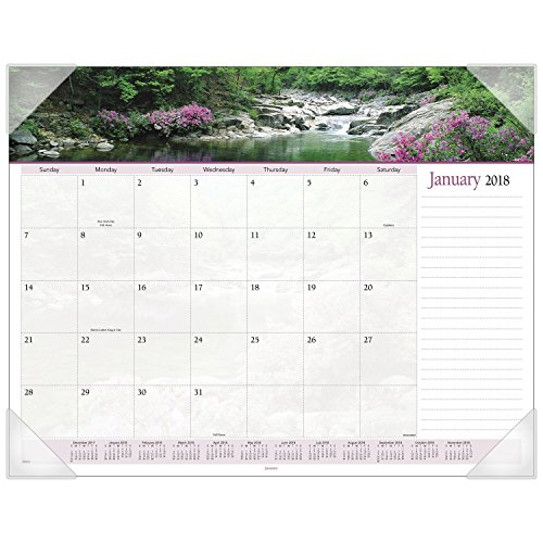 "AT-A-GLANCE Monthly Desk Pad Calendar, January 2018 - December 2018, 22"" x 17"", Landscape Panoramic (89802)"