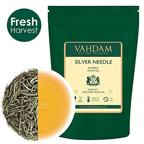 (VAHDAM, Silver Needle White Tea Loose Leaf (25 Cups) | HEALTHIEST TEA, 100% NATURAL White Tea Leaves | POWERFUL ANTI-OXIDANTS, CAFFEINE FREE | Brew as Hot Tea, Iced Tea or Kombucha Tea | 1.76oz)
