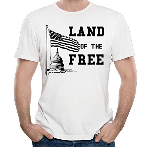 Wons T-Shirt Land of The Free - Mugs Men's Round Neck Fashion Casual Graphic Short Sleeve Tees Tops