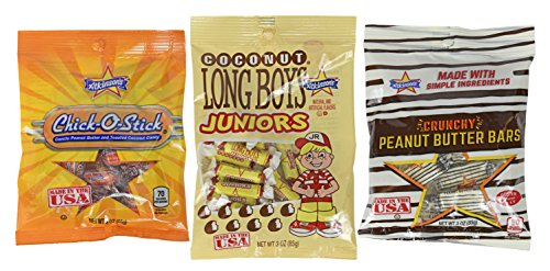 Set of 3 - Crunchy Peanut Butter Bars - Coconut Long Boys Juniors - Chick-o-Sticks - 3oz Per Bag - The Perfect Nostalgic Snacks!