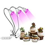 Triple-Lamp Grow Light, Asical 15W 2 Dimmable Levels Grow Lamp with Adjustable Flexible 360° Flexible Gooseneck and Three Separate Control Switches for Indoor Plants Hydroponics Greenhouse For Sale