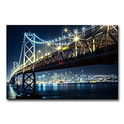 Modern Canvas Painting Wall Art The Picture For Home Decoration Oakland Bay Bridge With San Francisco In The Backgroung Night Bridge Landscape Print On Canvas Giclee Artwork For Wall Decor