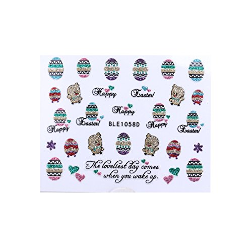 LUOEM Easter Nail Stickers Easter 3D Nail Decals Egg Chicken Glitter Nail Art Stickers DIY Decoration (6 Sheets 3D Design) -