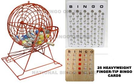 Red Professional Ping Pong Bingo Cage Set with Cards by NATIONALBINGOONLINE.COM (Image #1)