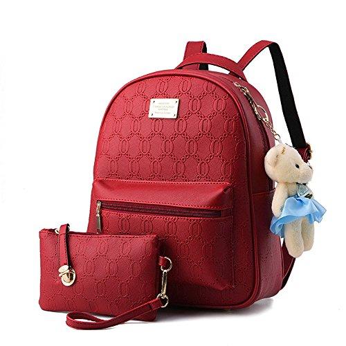 Damas en relieve Pu cuero mochila bolso de adolescentes Mochila de viaje Mochilas tipo casual Bolsas De Escuela Blanco Bolsos Mochila Rojo Bolsos Mochila