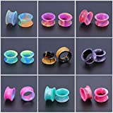 16 Pairs Ear Plugs Tunnels Silicone Flexible Thin