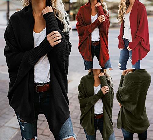 Largos Mujeres de de Hombro Invierno del Punto Abrigos Tops SHOBDW Larga del suéter suéter Manga Ocasional Sueltas otoño Negro Fuera Pwx7tqY1
