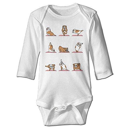 Funny Vintage Unisex Bulldog Yoga Baby Clothes Infant