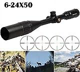 6-24X50 AOIRGBL Optics Rifle Scope RGB Illuminated Retical Fiber Hunting