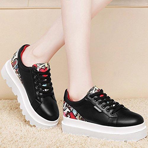 Femme Ville à Plateforme Derbies Lacets Chaussure JRenok Noir FEwnqd1F