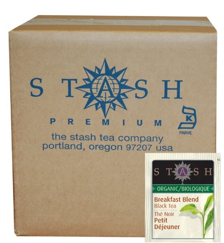Stash Tea Organic Black Tea Bags in Foil, Breakfast Blend, 100 Count (packaging may vary) 100% Organic Black Tea