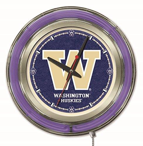 Holland Bar Stool Company NCAA Washington Huskies Double Neon Ring 15-Inch Diameter Logo Clock