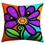 DENY Designs Steven Scott Cosmic Daisy in Purple Outdoor Throw Pillow, 16-Inch by 16-Inch