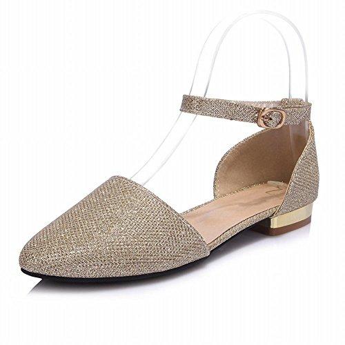 Montre Brillance Chic Féminin Boucle Brillante Cheville Boucle Flats Chaussures Or