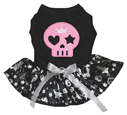 Petitebella Pink Skull Black Shirt Silver Pumpkin Tutu Puppy Dog Dress (X-Large) -