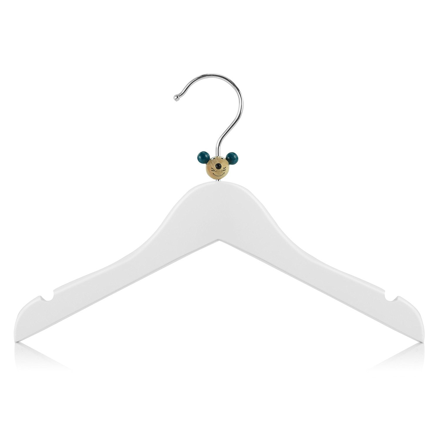 Hangerworld Baby & Toddler 11.8'' Wooden Coat Hangers with Fun Mixed Animal Head Design, Pack of 18, White by HANGERWORLD (Image #3)