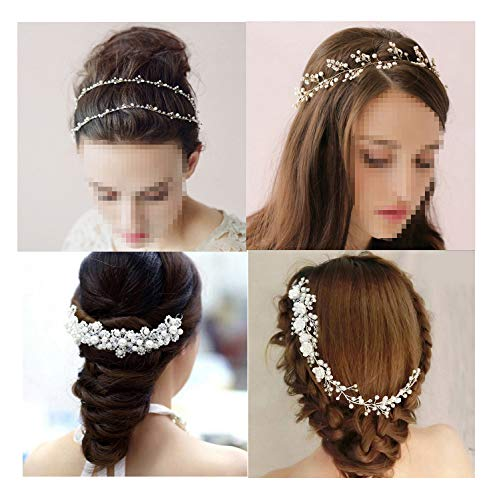 YallFF 4 Pieces Wedding Hair Accessories for Brides Bridesmaid, Bridal Headpiece, Bridal Hair Comb, Rhinestone Pearl Wedding Headband Headpiece Tiara Hair Vine