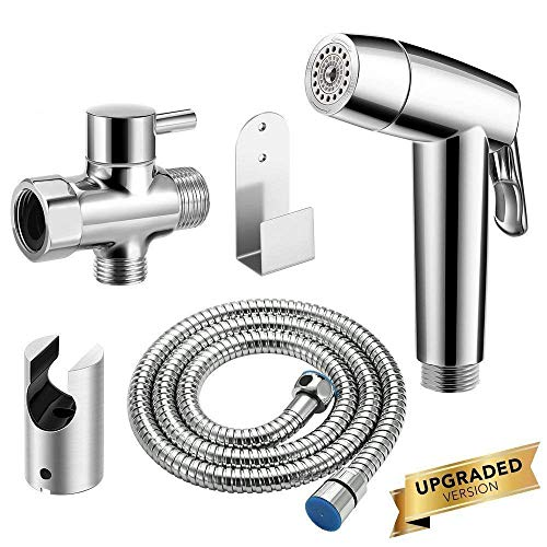 Abedoe Upgraded Handheld Bidet Sprayer for Toilet, Dual Modes Strong/Weak Water and Auto/Manual Operation Shattaf Baby Cloth Diaper Set - Electroplated ABS Sprayer & Brass T-Adaptor ()