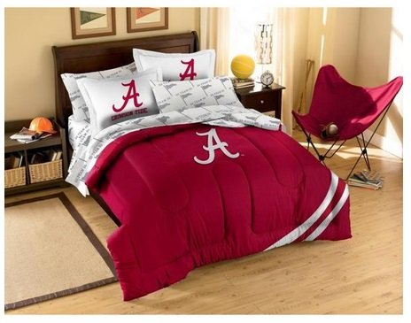 University of Alabama Crimson Tide FULL 7-piece Bed in a Bag Set includes Comforter, 2 Shams, 2 Pillowcases, 1 Flast sheet, 1 Fitted sheet & 1 Applique comforter, Great for College Dorm Rooms!!