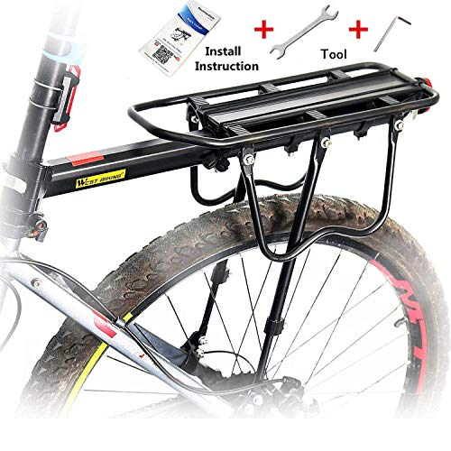 West Biking 110Lb Capacity Almost Universal Adjustable Bike Cargo Rack Cycling Equipment Stand Footstock Bicycle Luggage Carrier Racks with Reflective Logo (Renewed)