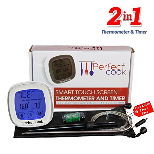 Perfect Cook - Best Digital Meat Thermometer & Cooking Timer, with Best Stainless Steel Probe to Leave in Oven, BBQ Cooking, Grilling, Turkey or Smoker And Easy to Use Count down/Up Kitchen Timer (Back To Basics Toaster Egg compare prices)