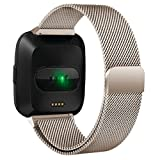 RTYou For Fitbit Versa Bands,Milanese Magnetic Loop Stainless Steel with Unique Magnet Lock Accessories Replacement Band For Fitbit Versa (B)