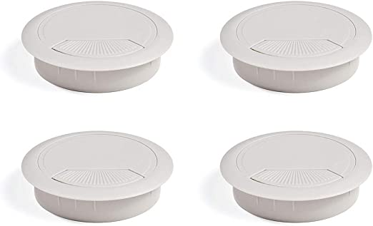 EMUCA - Pasacables de Mesa Circular Ø80mm de plástico Gris, Tapa ...