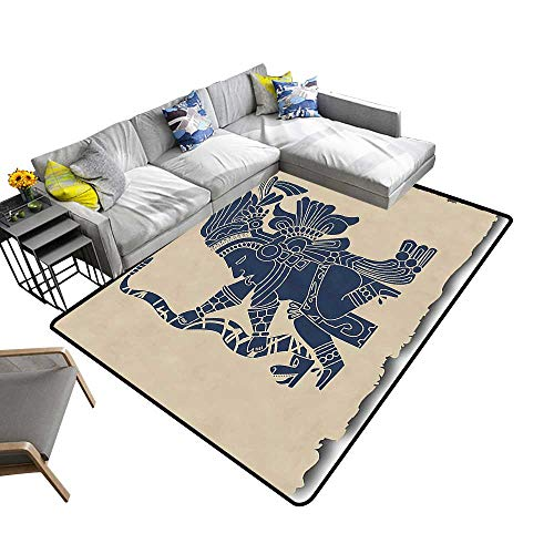 Multi-Color Modern Area Rug Inca Primitive Motif Native Man in Old Paper Print Beige Blue Grey Non Slip Absorbent Super Cozy 24 x 40 inch