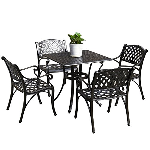 Outdoor Living Patio Furniture, 5pcs Cast Aluminum Square Bronze Dining Set (Square Aluminum Cast Patio Furniture)