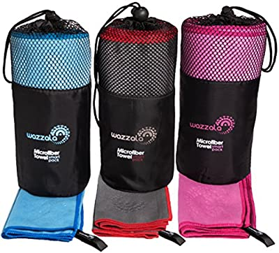 Premium Microfiber Towel for Travel, Bath, Sports & Outdoors + FREE Hand/Face Towel & Mesh BAG. Antibacterial, Quick-dry, Compact. With Hook. Limited Time Offer!