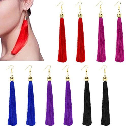 age Long Tassel Dangle Earrings Thread Fringe Drop Earring For Women ()