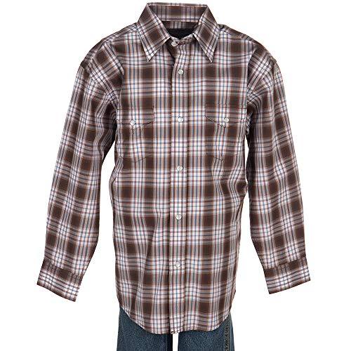 Panhandle Boys Slim Plaid Snap Shirt L Brown - Panhandle Slim Snap Shirt
