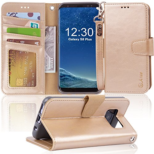 Arae Case Compatible for Samsung Galaxy S8 Plus / S8+, [Wrist Strap] Flip Folio [Kickstand Feature] PU Leather Wallet case with ID&Credit Card Pockets (NOT for Galaxy s8) (Champagne Gold)